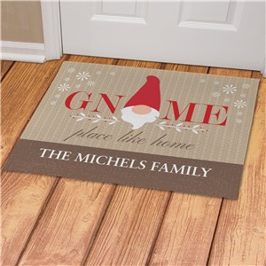 Personalized Gnome Place Like Home Doormat | Christmas Gnome Personalized Door Mats