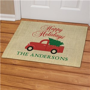Personalized Merry Christmas Or Happy Holidays Choice Personalized Doormat | Christmas Doormats