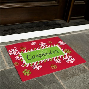 Snowflake Red and Green Personalized Christmas Doormat | Personalized Doormat