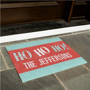 Personalized Ho Ho Ho Vintage Christmas Doormat | Retro Christmas Decorations