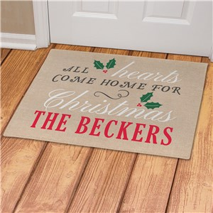 All Hearts Come Home For Christmas Personalized Doormat | Christmas Doormat