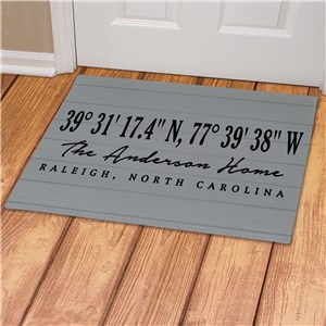 Personalized Coordinates Doormat | Grey Wood Look Doormat