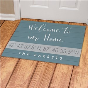 Personalized Welcome To Our Home Coordinates Doormat