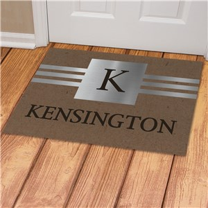 Personalized Faux Metal and Burlap Texture Doormat