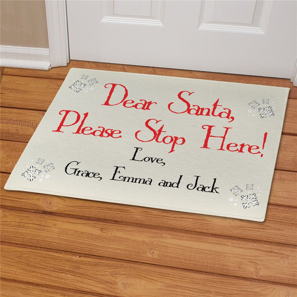 Santa Please Stop Here Doormat | Personalized Christmas Doormats