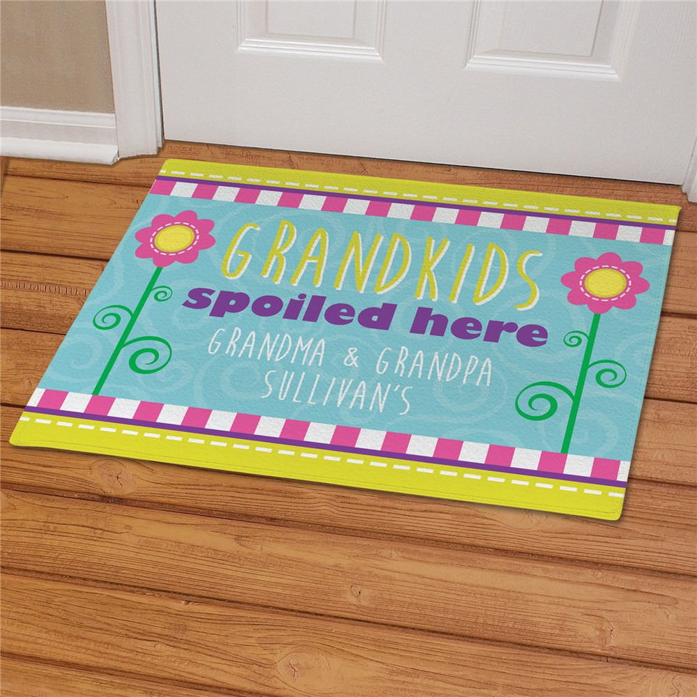 Personalized Grandparents Doormat - Grandchildren Spoiled Here | Personalized Doormats
