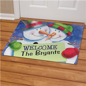 Personalized Snow Couple Welcome Doormat | Personalized Christmas Doormats