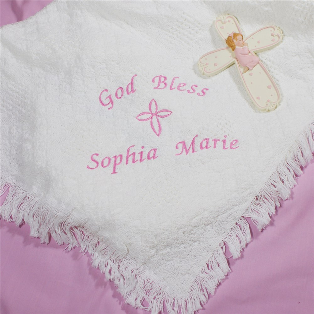 Embroidered God Bless Baby Girl Afghan | Personalized Baby Blankets