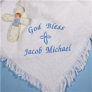 Embroidered God Bless Baby Boy Afghan | Personalized Baby Blankets