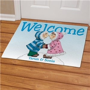 Eskimo Couple Personalized Doormat | Personalized Christmas Doormats