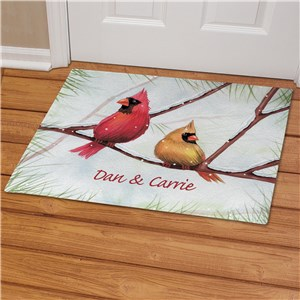 Personalized Cardinals Christmas Doormat | Personalized Christmas Doormats