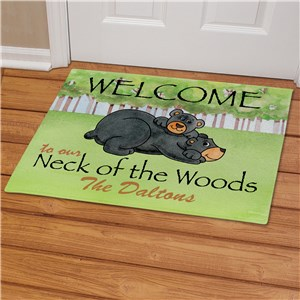 Personalized Bear Neck Of The Woods Doormat | Personalized Doormats