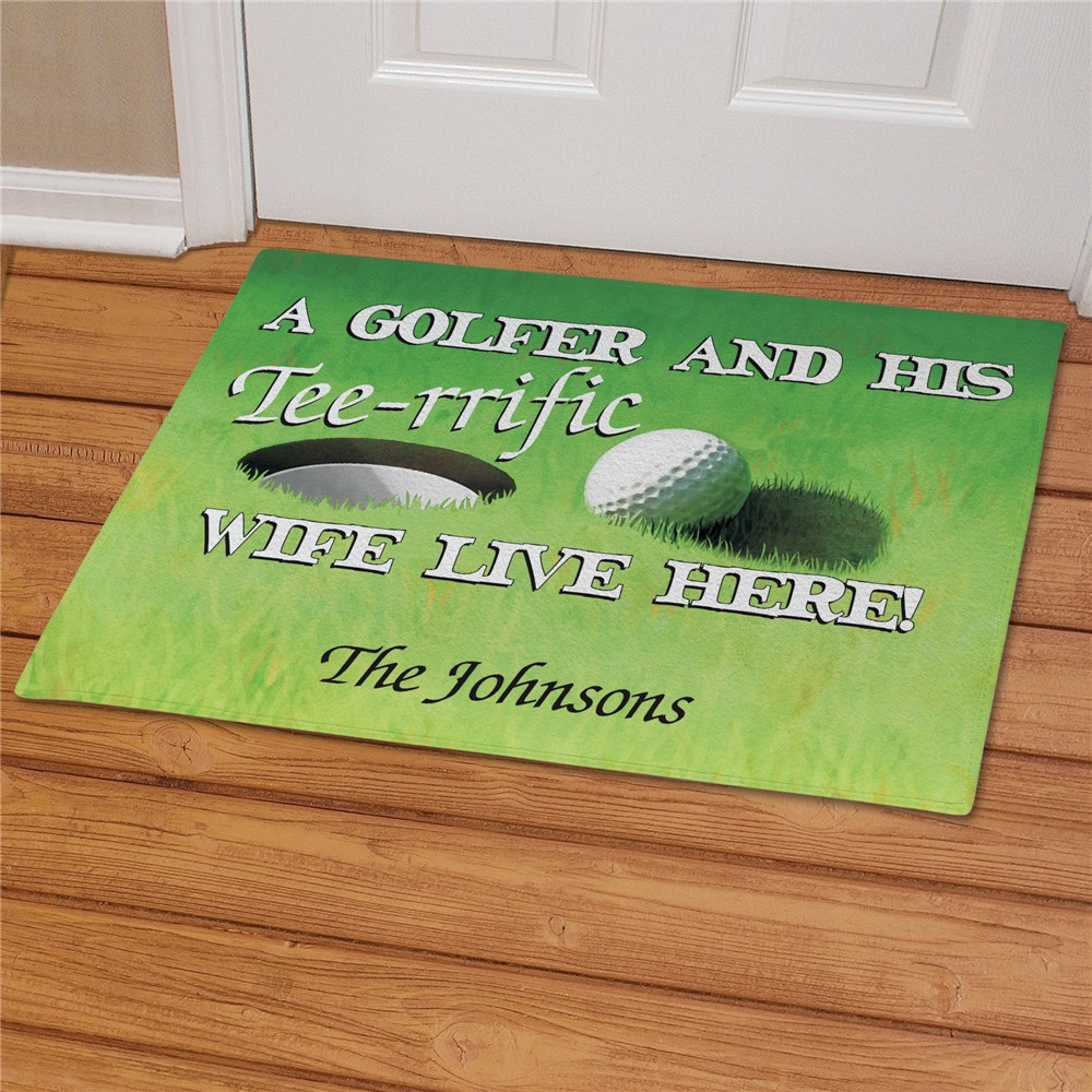 Personalized Tee-rrific Wife Golf Doormat | Personalized Doormats