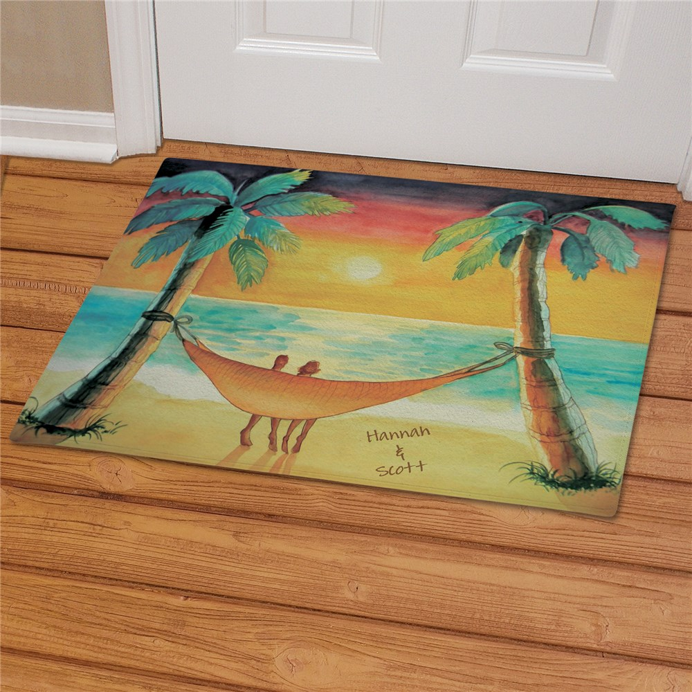 Personalized Beach Sunset Welcome Doormat | Personalized Doormats