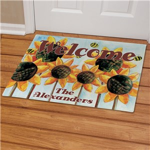 Personalized Sunflower Welcome Doormat | Personalized Doormats