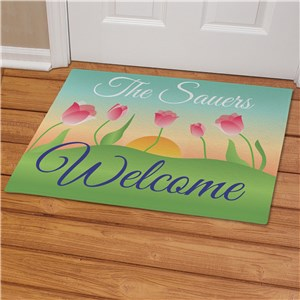 Personalized Spring Tulips Doormat | Personalized Doormats