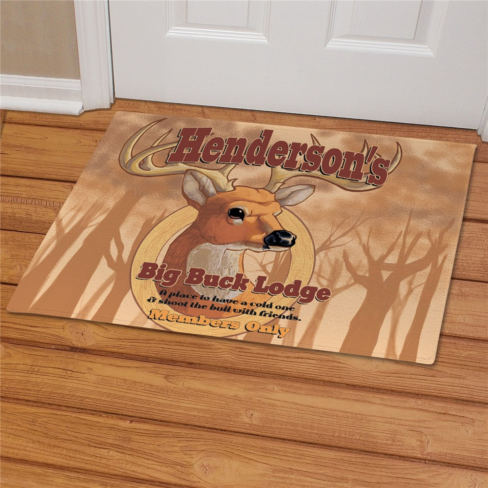 Personalized Big Buck Lodge Doormat | Personalized Doormats