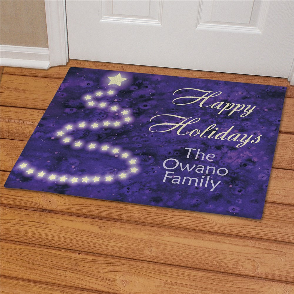 Personalized Happy Holidays Christmas Doormat | Personalized Doormats