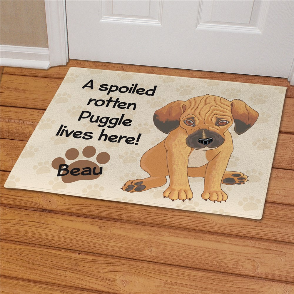 Personalized Puggle Spoiled Here Doormat | Personalized Doormats