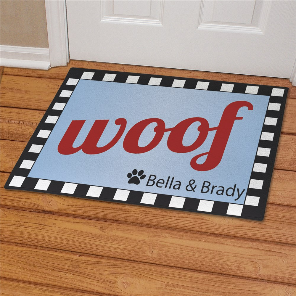 Personalized Woof Dog Welcome Doormat | Personalized Doormats