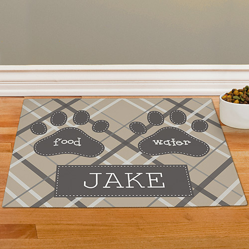 Personalized Plaid Pet Food Mat 83199097