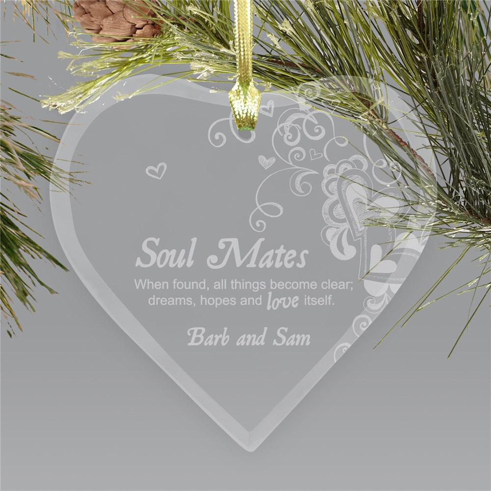 Engraved Soul Mates Glass Heart Ornament | Personalized Couples Ornament
