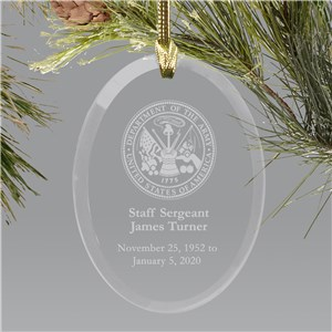 U.S. Army Memorial Personalized Ornament | Oval Glass | Memorial Ornaments