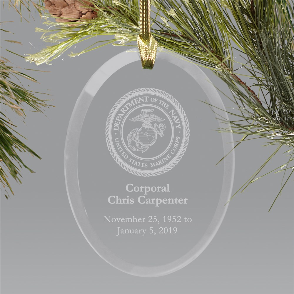 U.S. Marines Memorial Engraved Ornament | Oval Glass | Memorial Ornaments