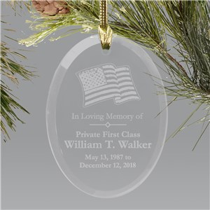 In Loving Memory Personalized Military Memorial Glass Ornament | Memorial Ornaments