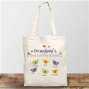 Butterfly Kisses Personalized Canvas Tote Bag | Grandma Gifts