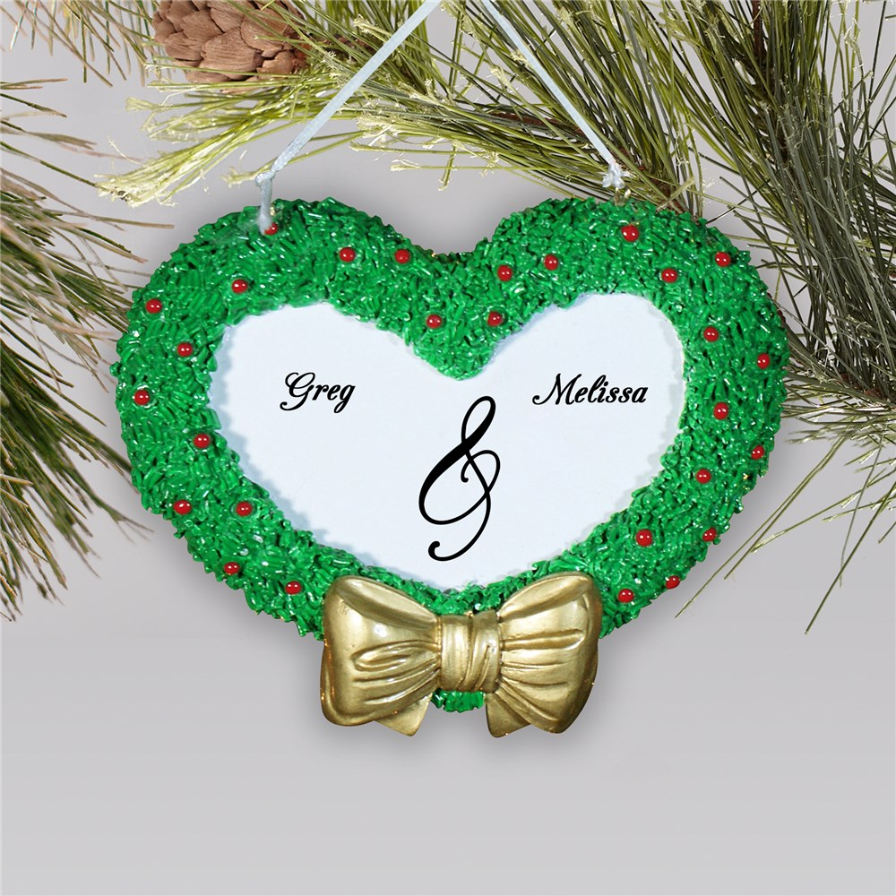 Heart Wreath Engraved Christmas Ornament | Personalized Couples Ornament
