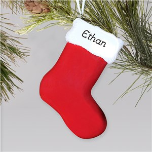 Engraved Red Stocking Ornament | Personalized Christmas Ornaments For Kids