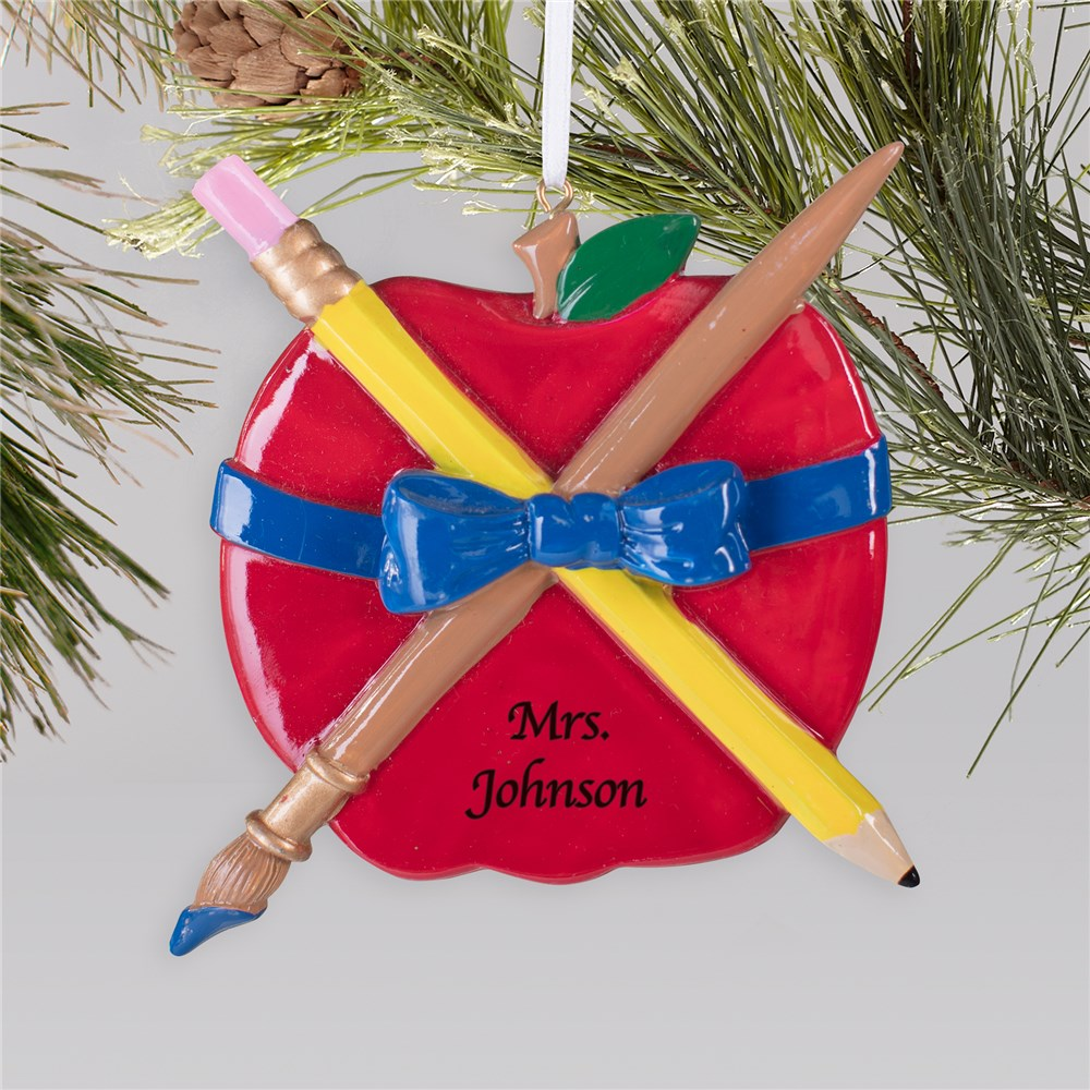 Teachers Apple Christmas Ornament | Personalized Teacher Ornaments