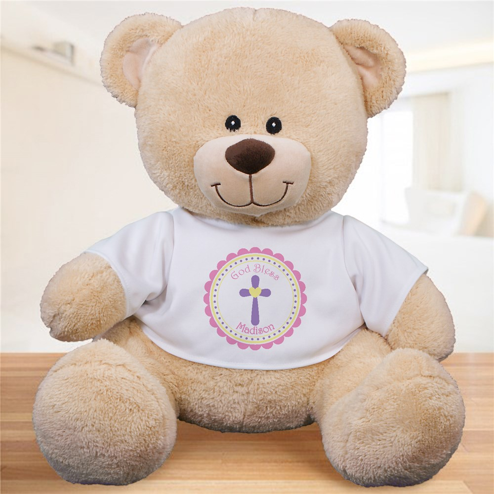 God Bless Personalized Teddy Bear - Pink Design | Personalized Teddy Bear