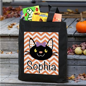 Black Cat Personalized Trick or Treat Bag | Personalized Trick-Or-Treat Bags