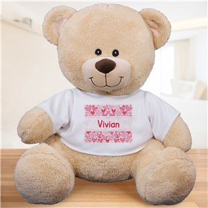Personalized Pink Hearts Kids Bear | Personalized Teddy Bears