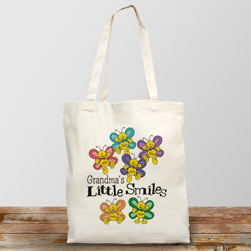 Little Smiles Personalized Canvas Tote Bag | Personalized Gifts For Grandma