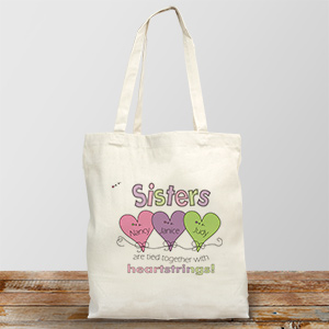 Hearts Strings Sisters Personalized Totebag | Personalized Sister Gifts