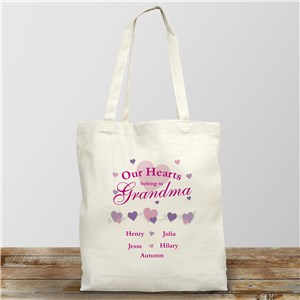 Our Hearts Canvas Personalized Tote Bag
