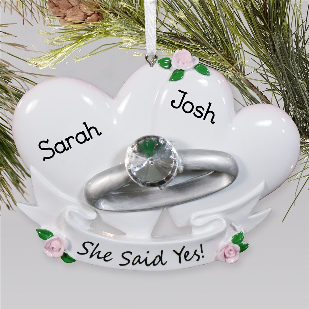 Personalized Couples Engagement Ring Ornament | Personalized Engagement Ornament
