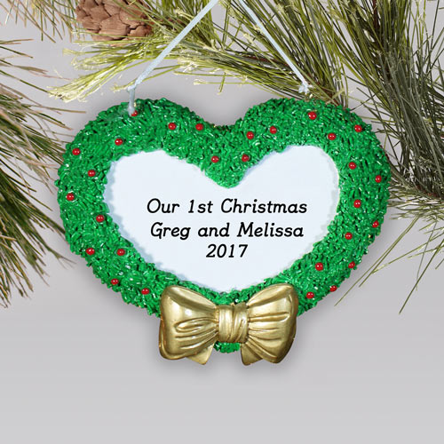 Engraved First Christmas Heart Wreath Ornament | Couples First Christmas Ornament