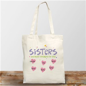 Personalized Best Friends for Life Canvas Tote Bag | Personalized Sister Gifts