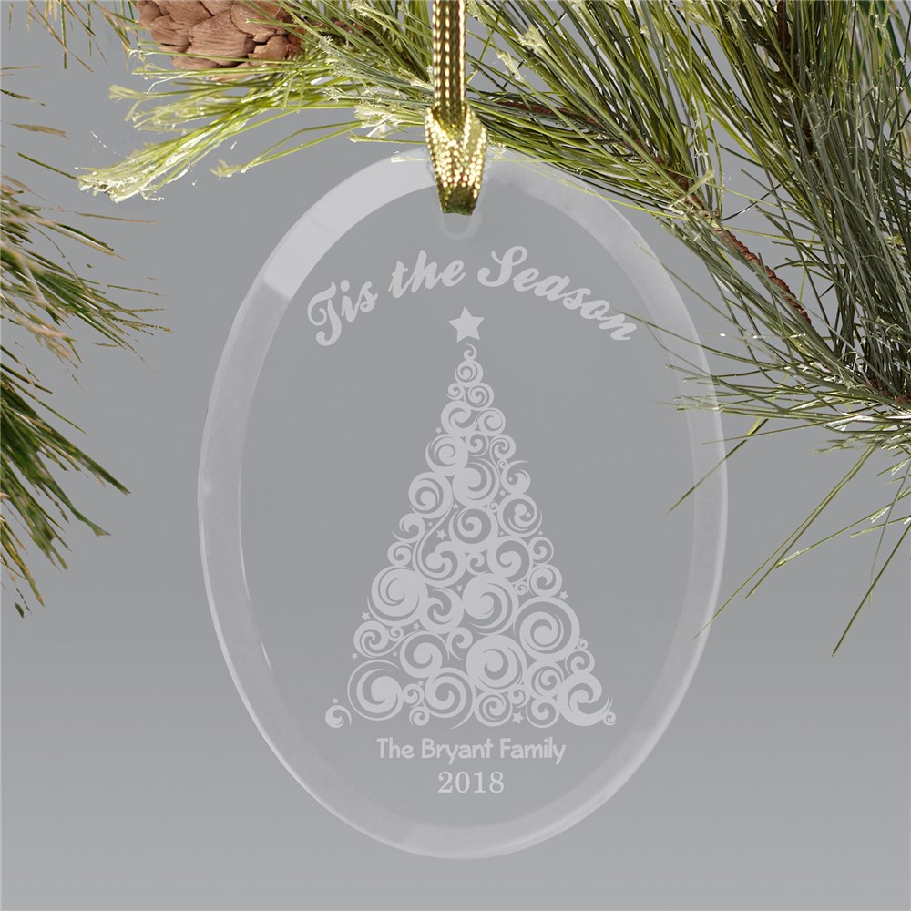 Engraved Tis The Season Oval Glass Ornament | Personalized Ornament