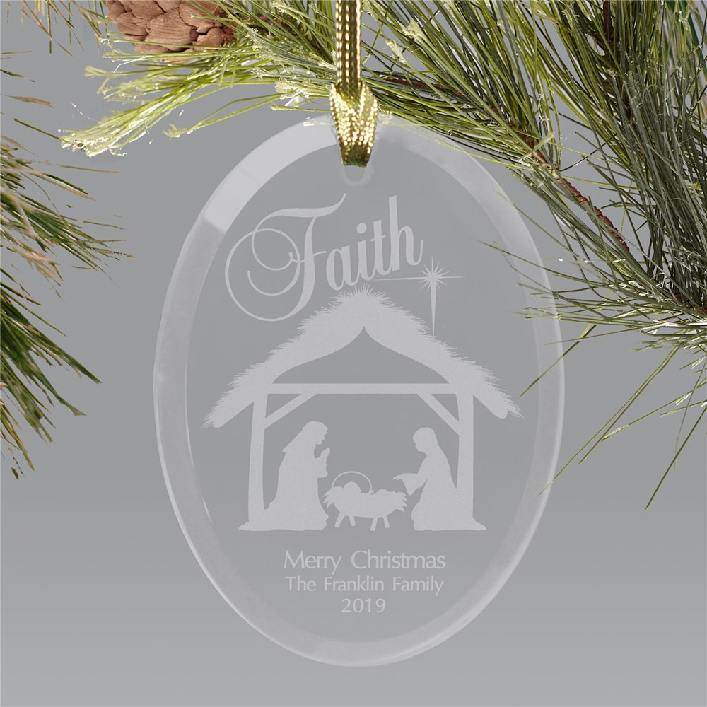 Engraved Nativity Oval Glass Ornament | Personalized Christmas Ornament