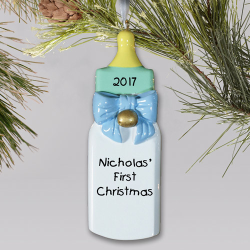 Personalized Baby's First Christmas Ornament for a Baby Boy | Baby's First Christmas Ornaments