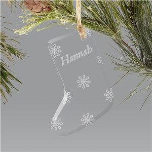 Engraved Snowflake Glass Stocking Ornament | Kids Christmas Ornaments