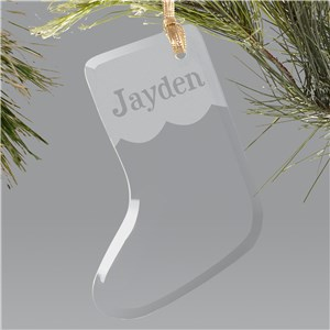 Engraved Glass Stocking Ornament | Personalized Christmas Ornaments