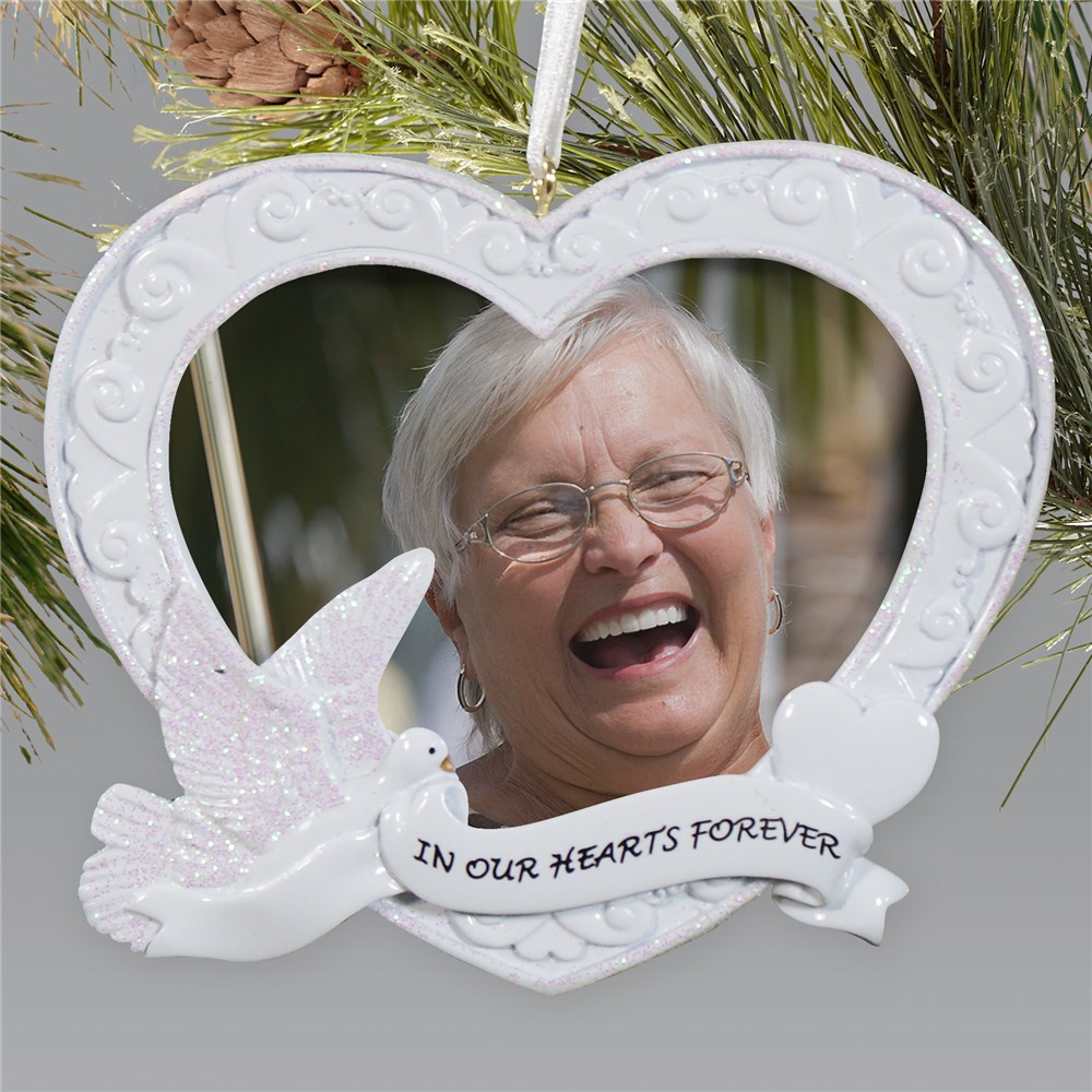Personalized Memorial Christmas Ornament Frame | Heart | Memorial Christmas Ornaments