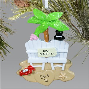 Personalized Just Married Christmas Ornament | Personalized Couples Ornaments
