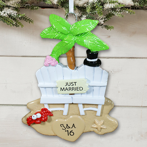Personalized Just Married Christmas Ornament 849013